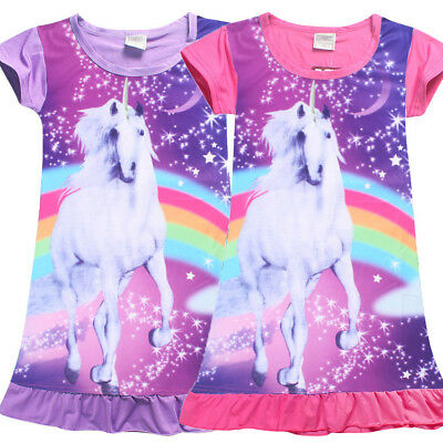 AU Unicorn Horse Girls Children Kids Pyjama Nightwear Nightie Dress 4-10Years