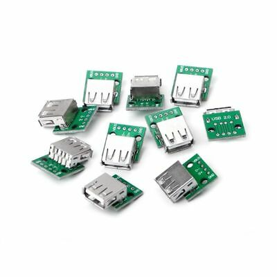 10 Pcs USB 2.0 Female Socket to 4P DIP Adapter Connector 2.54mm Welded PCB Board