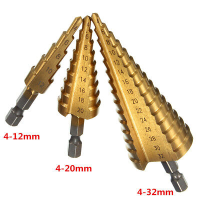 3Size Large HSS Step Titanium Cone Drill Hole Cutter Bit Set Tool 4-12/20/32mm Z