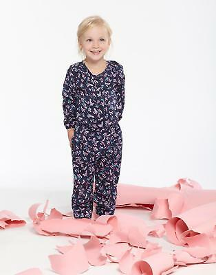 Joules Luanna Girls Jumpsuit in 100% Viscose in French Navy Winter Ditsy