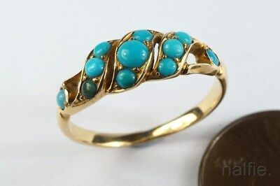 LOVELY ANTIQUE MID VICTORIAN ENGLISH 18K GOLD TURQUOISE RING c1860