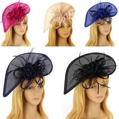 LeahWard Women's Feather & Flower Fascinator For Wedding Party Horse Race