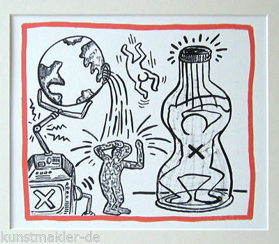 "HARING Keith "" Planet Earth "" 02/20 Vintage Litho 1990 mit 30/40cm Passepartout"
