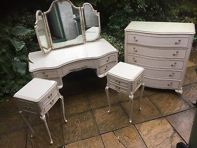Fine French Louis Style Shabby Chic Walnut Bedroom Suite 2-Man Delivery