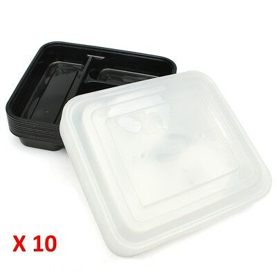 10 pc Microwave 3 Compartment Plastic Lunch Box Food Storage Meal Prep Container