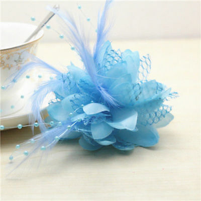 Blue Flower Feather Bead Corsage Hair Clips Fascinator Hairband Pin brooch