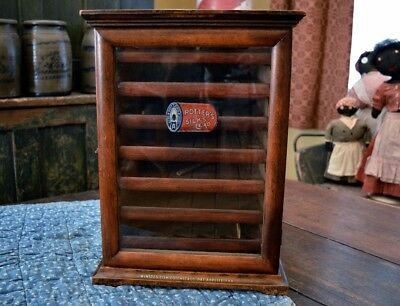Very Rare Diminutive Antique Winsted Potters Spool Cabinet with Advertising *