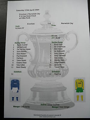 1988-89 FA Cup Semi Final Everton v Norwich City matchsheet