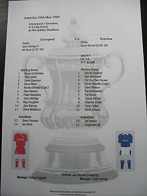 1988-89 FA Cup Final Liverpool v Everton matchsheet