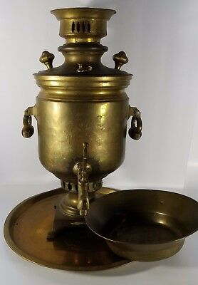 """Antique Russian Brass Samavar with Under Plate and Drip Bowl, 17.5"""", Stamped"""