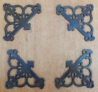 4 Vintage New Old Stock Fancy Cast Iron Corner Brackets Screen Door Pict Frame