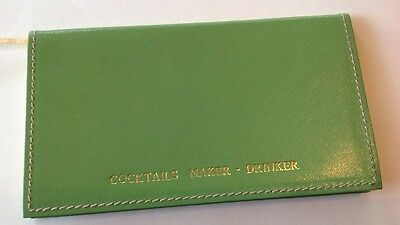 VTG MIXOLOGY BOOK Cocktails KATE SPADE PROTOTYPE ? Green Leather BOOKLET Italy