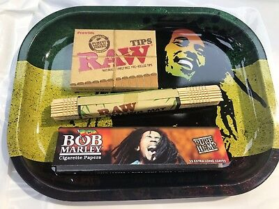 Bob Marley Rolling Tray Smoking Christmas Gift Set Raw Prerolled Tips Mat Papers