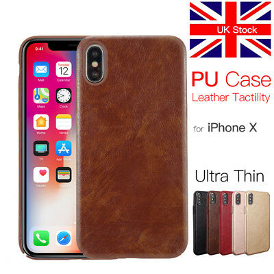 Luxury for iPhone X Case PU Cover Ultra Thin Slim Back Syn Leather Shell PC Hard