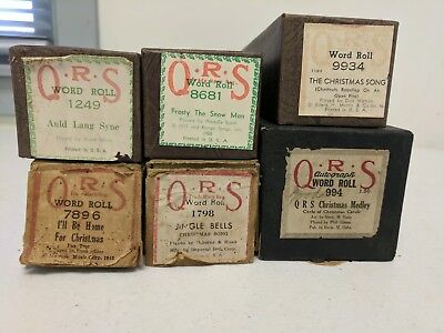Vintage Lot of 6 QRS Player Piano Rolls Christmas Music, POPULAR TITLES  #X