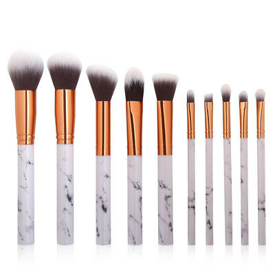 10pcs Marble Make up Brushes Set Blusher Face Powder Foundation Eyeshadow Kabuki