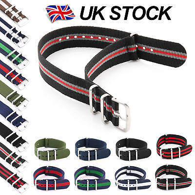 Nylon Watch Strap Band Military Army Nylon G10 Mens S.S Buckle Solid color