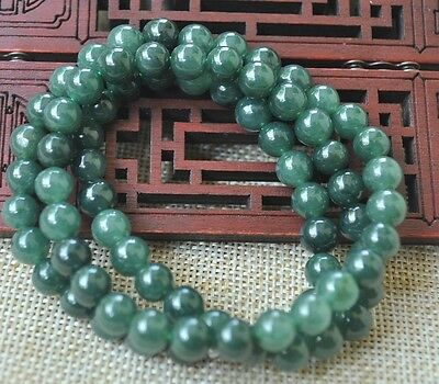 """8mm 100% Natural A green Emerald Jade Pendant ~ Necklace Have certificate 19"""" AA"""