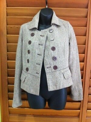 Just Jeans Womens Vintage Herringbone Double Breasted Short Jacket - Size 8 NEW