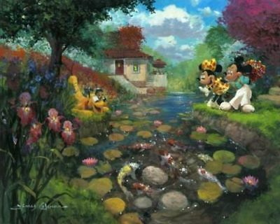 """Mickey's Koi Pond"" by James Coleman with Mickey Mouse, Minnie Mouse, and Pluto"