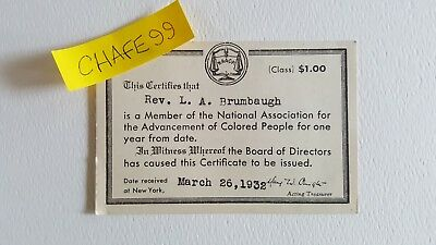 1932 NAACP Membership Card - in Great Condition, Free US Shipping!