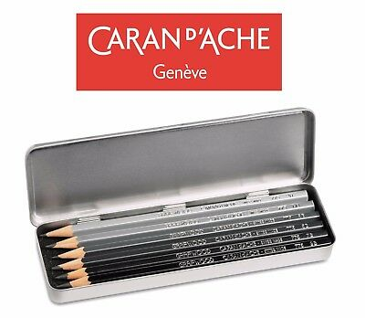 Caran D'Ache 6 x Graphite Line Artist Graded Shading Pencils Grafwood Metal Set