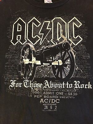 "1980 AC DC Admit One ""FOR THOSE ABOUT TO ROCK"" 2XL T-Shirt Pre Owned Concert T"