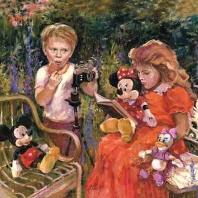 """""""Reading to Minnie"""" by Irene Sheri with Mickey Mouse and Minnie Mouse"""