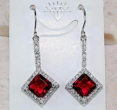 4CT Ruby & White Topaz 925 Solid Sterling Silver Earrings Jewelry, T1-3