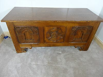 Reproduction Oak Coffer / Blanket / Toy  Box . Carved Panels