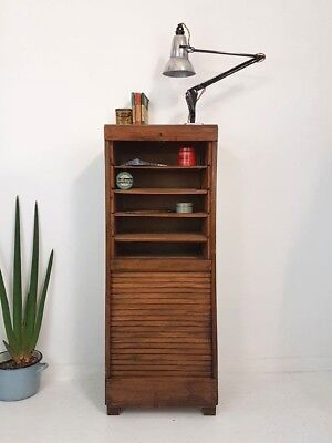 Vintage Industrial Wooden Tambour Roll Cabinet Shop Display Sideboard Drawers