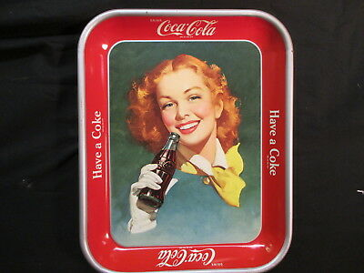 Coca Cola Tray Red Hair Girl c.1950 Original - Have A Coke! Excellent Condition!