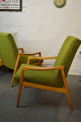 1 x Vintage Mid Century Armchair Lounge Chair Fabric + Wooden Frame