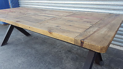NEW FRENCH INDUSTRIAL RECYCLED VINTAGE RUSTIC TIMBER DINING TABLE - 300 x 120CM