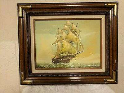 Beautiful Vintage painting of a Cutter Ship in wood frame w/brass corners