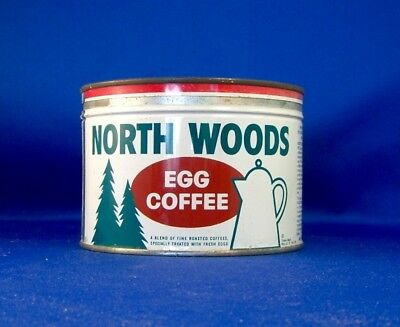 keywind tin NORTH WOODS EGG COFFEE 1lb orig lid North Woods Coffee Co CHICAGO IL