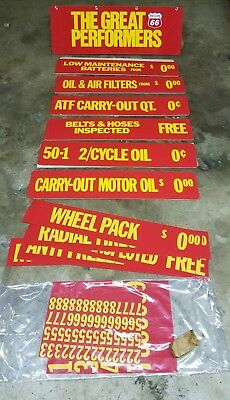 N.O.S. Phillips 66 Cardboard Sign Display 1960's Motor Oil Gas Battery Banner