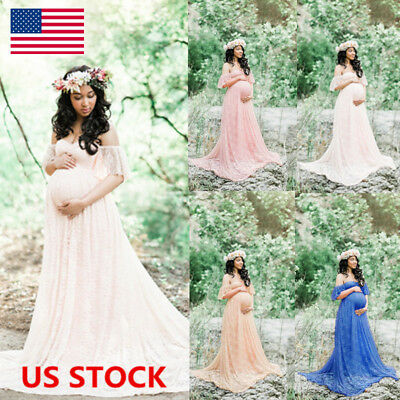 US Pregnant Women Off Shoulder Lace Maxi Dress Gown Maternity Photography Dress