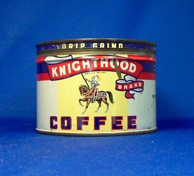 keywind tin KNIGHTHOOD COFFEE 1lb orig lid REEVES PARVIN & CO Altoona PA +5 more