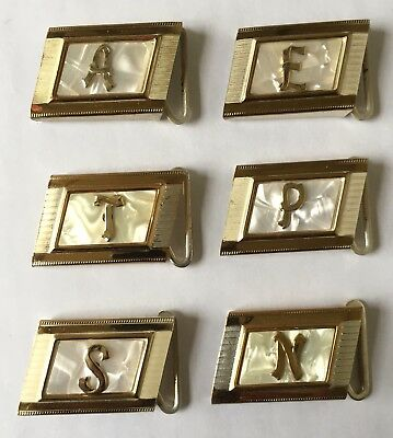 6 Vintage Men's Initialed Monogrammed Belt Buckles Marked London Solid Brass
