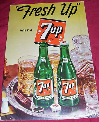 1949 7Up Sign Store Display Old Vintage Soda Pop Ad Advertising Fountain Counter