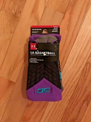NEW Under Armour STEPHEN CURRY Basketball Crew socks Black/Purple 1292879-002