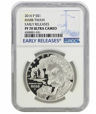2016-P $1 Silver Mark Twain Commemorative, PF70UCAM, Early Releases, NGC