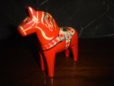 "Vintage 4"" Swedish DALA Wooden Hand-Painted Horse Signed G.A. Olsson"