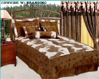 Western Twin Comforter Set 5pc Cowhide Look With Multi Brands Bedding Set