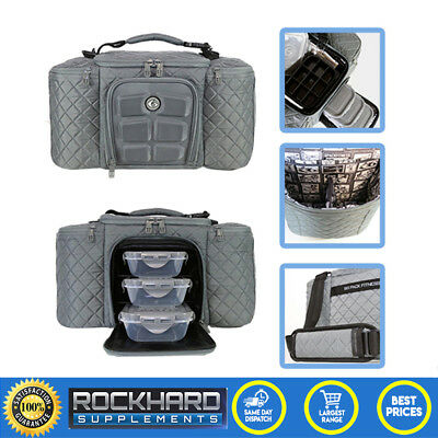 Six Pack Fitness Bag Innovator 300 Quilted Grey Big Meal Management 6 Pack