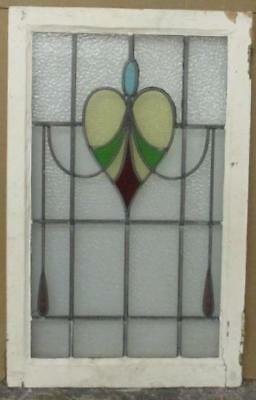 "LARGE OLD ENGLISH LEADED STAINED GLASS WINDOW Heart-Shaped Drop 20.25"" x 32"""