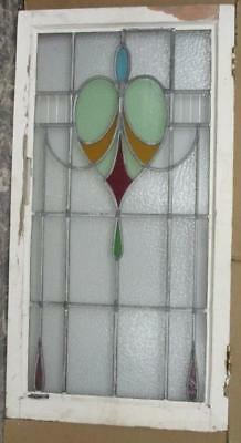 "LARGE OLD ENGLISH LEADED STAINED GLASS WINDOW Pretty Abstract Heart 20.25"" x 38"""