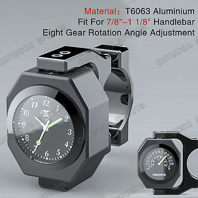 """CNC Waterproof Thermometer Clock Watch Handle bars Mount For Yamaha 7/8""""-1 1/8"""""""