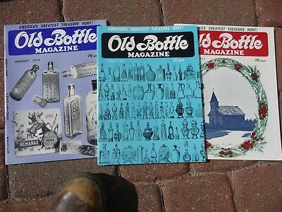 3 Old ANTIQUE BOTTLES & GLASS COLLECTOR Magazines1970's Bitter Poison Beer